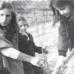 """ט""""ו בשבט בכפר רפאל, 1983 . מימין: אליה לוי, משמאל: אורנה לוי. צילום: אודי לוי"""
