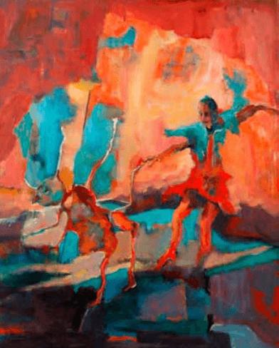 """ציור של האמן דודו מליניאק """"על הגשר שבין החיה לעל אדם"""""""