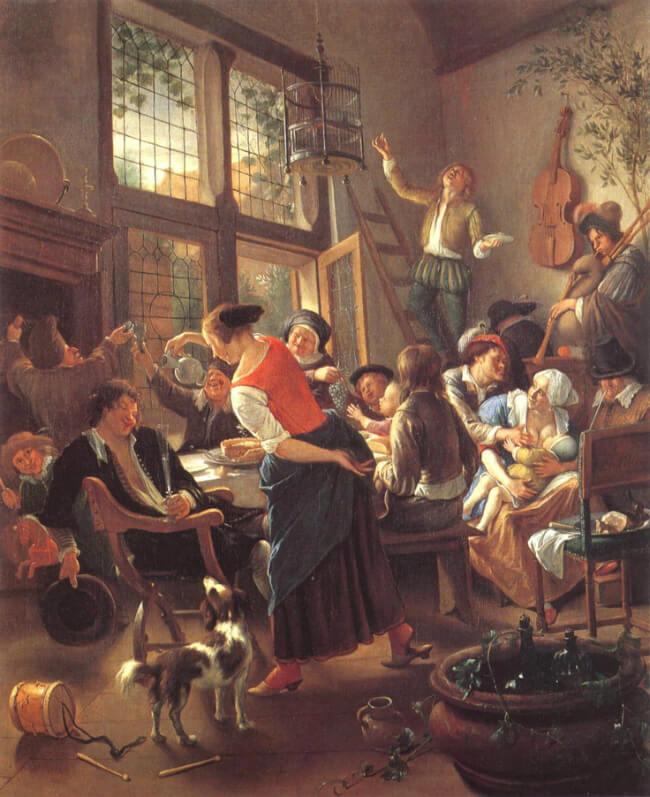 ז'אן סטין (Jan Steen) ארוחה משפחתית