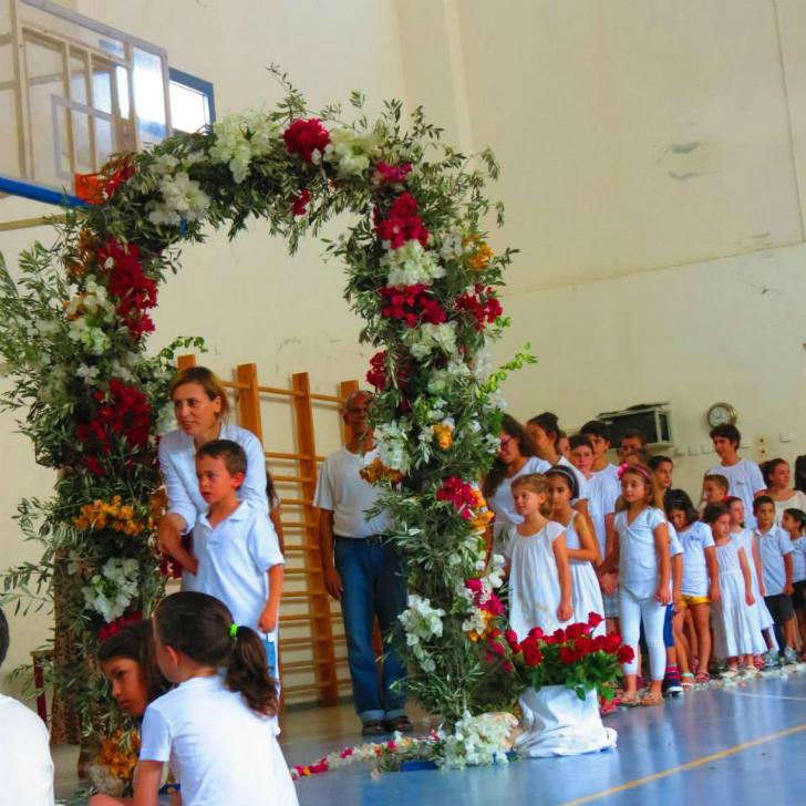 שער הפרחים בבית ספר שקד. צילום מדף הפייסבוק של בית הספר.
