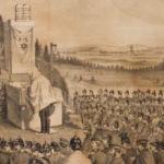 """""""עבודת יום הכיפורים תרל""""א במחנה אשר על פני מעץ"""". חיילים יהודיים בצבא הפרוסי בימי מלחמת צרפת-גרמניה, 1870. ליטוגרפיה בעקבות ציור של הרמן יונקר."""