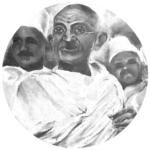 מ.ק. גנדהי, שמן על קנווס. ציירה: רעות בלוך