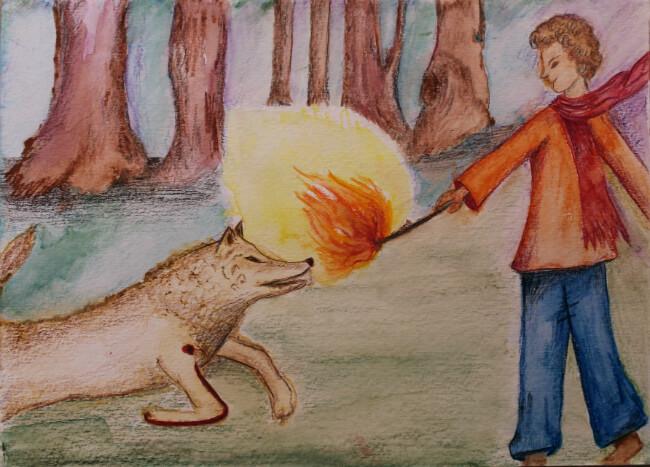אל-זַ'אָבּ )הזאב( והאש. האות זַ'ל מופיעה ברגלו הקדמית של הזאב. האיור מספר האותיות של לנא נסראללה