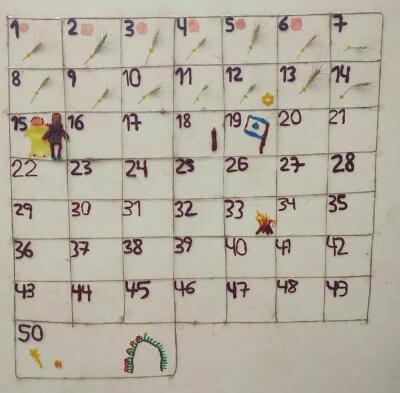 לוח ספירת העומר בית ספר זמרת-יה, בית ספר אנתרופוסופי דתי ברמת גן. צילום באדיבות רן אהרוני