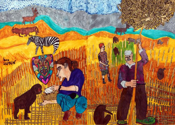 צייר: מיכאל, יליד 1992, דייר בכפר שמעון. מיכאל מצייר בטכניקות שונות, הוא בעל תחומי עניין נרחבים ומשלב אותם בציוריו.