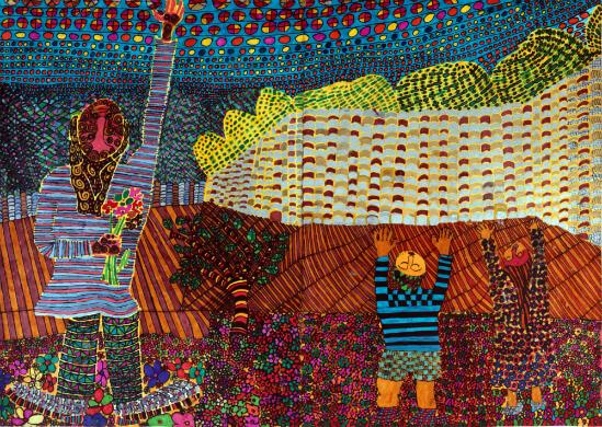 צייר: ניר, יליד 1978. ניר עובד עם טושים בלבד, באופן מאוד קפדני ומדויק. ציוריו בעלי אסתטיקה פנימית גבוהה. הוא טוטאלי ושואף לשלמות, עבודתו מתאפיינת באיטיות רבה וביסודיות.