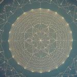 """גיאומטריית """"לידה"""", אקריל על קנווס, מבוססת על תבנית """"זרע החיים"""" / סיתוונית גומברג"""