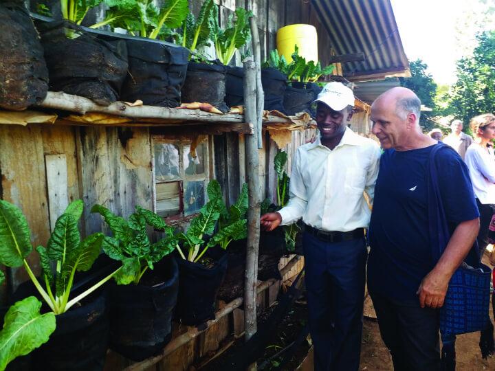 קיר ירוק בביתו של יוסטוס מוּרָאיה, בכפר קיאמוטורי (Kiamuturi), קניה