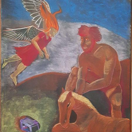ציור לוח של הענק תרים יושב ושוזר חוטי זהב ברעמת סוסתו, לוקי מגיע לשכנע אותו להחזיר את הפטיש שגנב מהאל תור.